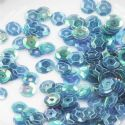 Sequins, blue, Diameter 6mm, 400 pieces, 5g, Faceted Discs, Sequins are shiny, [CZP495]
